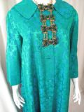 SOLD*es 1950's Full length emerald satin brocade vintage  evening coat